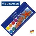 德國STAEDTLER施德樓 888 NC12 12色固體水彩顏料 畫筆調色盤套裝